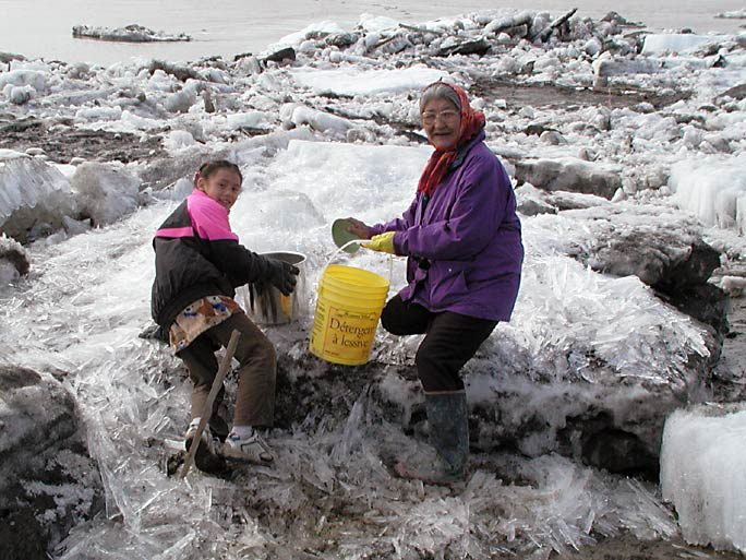 Gathering Ice For Drinking Water